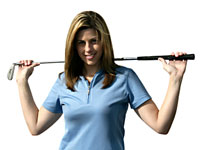 woman golfer stretching