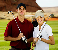 young golf couple
